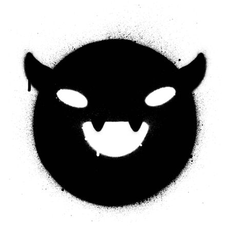 graffiti devil icon sprayed in black over white