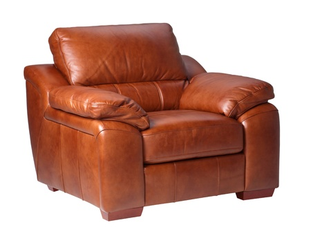conner: Brown luxury genuine leather conner sofa isolates on white