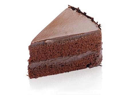 trozo de pastel: Chocolate dulce y sabrosa tarta durante gran freno caf�