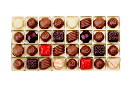 Sweet chocolate ball in the box isolated on white background Stock Photo - 15671424