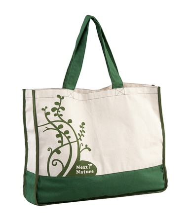 Nice and high capacity of the fabric bag, use the clothing bag when you going to buy stuffs at the supermarket to reduce quantity of plastic bags and keep the world more green photo