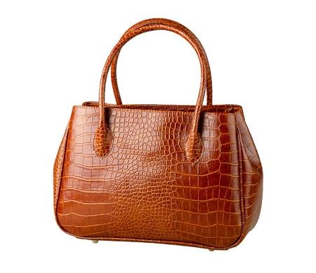 Nice brown crocodile leather womans handbag isolated,   photo
