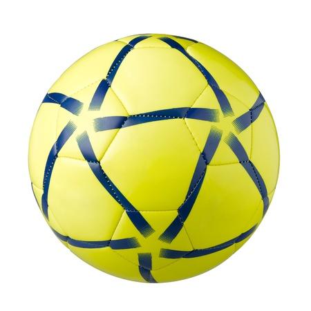 sporting goods: Ootball amarillo Un material deportivo aislado sobre fondo blanco Foto de archivo