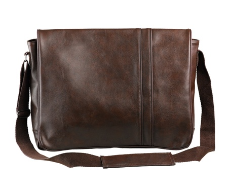 haversack: cute and nice haversack bag in brown color made of genuine leather isolated