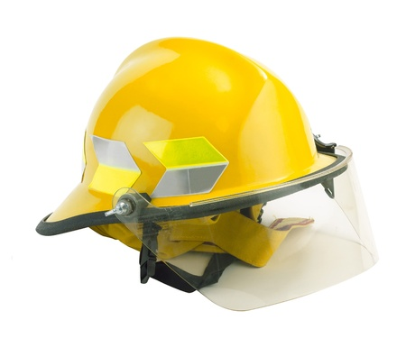 Safety helmet for fireman to protection himself from dangerous isolates on white  photo