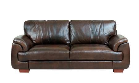 Brown luxury genuine leather sofa isolates on white  photo