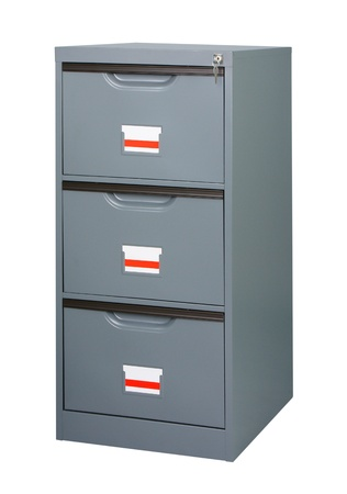 Closet or cabinet stainless steel furniture with big drawers to storage your documnets  photo