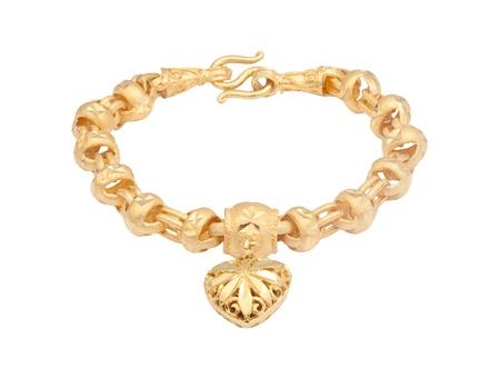 gold necklace: Nice golden bracelet in heart shape on white