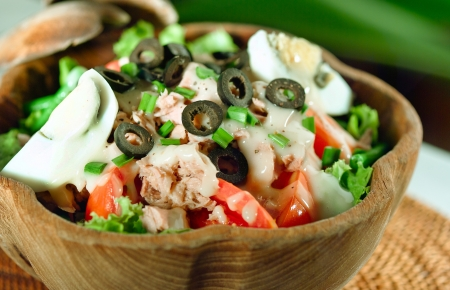 Mediterranean tuna fish salad style a healthy menu  photo