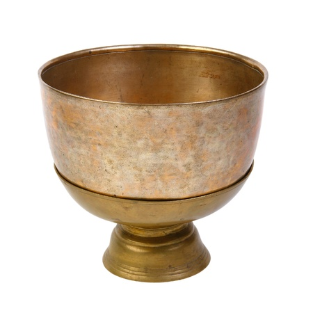 Ancient bowl for special ceremony on white Stock Photo - 15671385