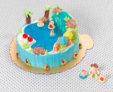 cheese cake: Nice idea to make fancy cake with waterfall and pool Stock Photo