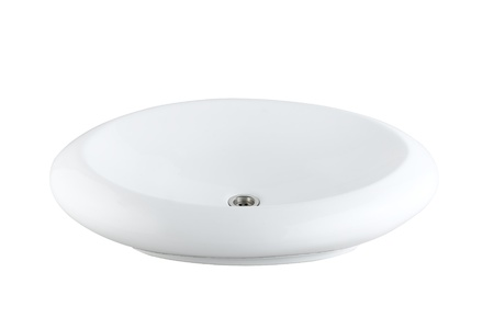 isolates: Durable washbasin sink made of ceramic or porcelain beautiful for your restroom isolates Stock Photo