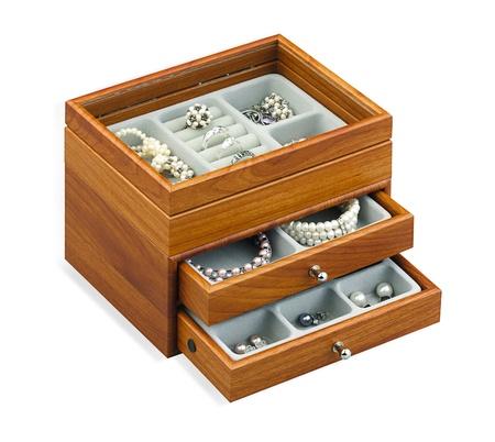 nice jewelry treasure box isolated on white Stock Photo - 15671652