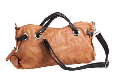 Brown sweet color and useful of the woman handbag isolates  photo