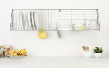 empty space: Empty space of the kitchen that you could touching kitchenwares images or your ideas into it Stock Photo