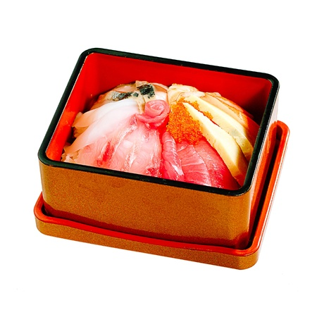 Sushi Japanese food mix in bento lunchbox on white background Stock Photo - 15671649