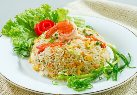 clean food: Fried rice with shrimp or prawn a taste of asian food isolated