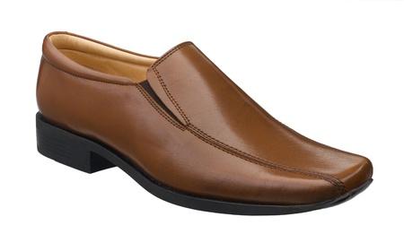 jornada de trabajo: Brown zapato de cuero grande para su d�a de trabajo aislado