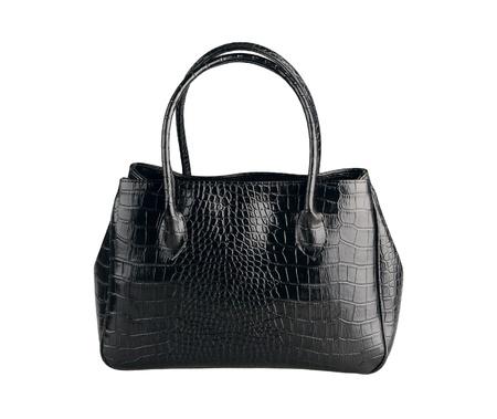 Mooie zwarte lederen handtas gemaakt van krokodillenleer isoleert op wit Stockfoto