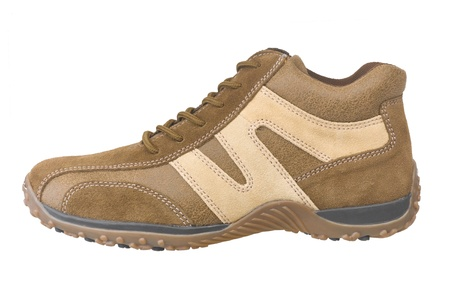 isolates: Casual brown leather shoe isolates on white background