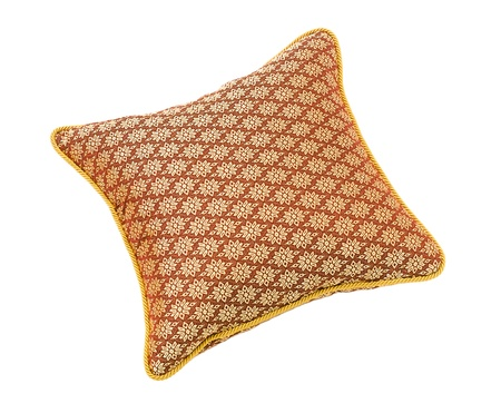 nice craft square cushion from shiny silk isolated Stock Photo - 15732893