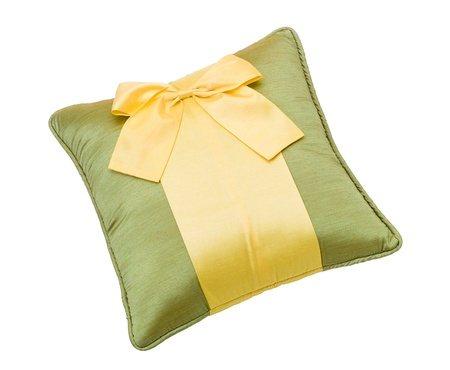 Nice and beautiful cushion with bow isolates on white Stock Photo - 15732982