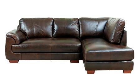 isolates: Brown luxury genuine leather conner sofa isolates on white