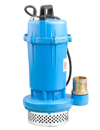 Blue water pump for your houses and farms easy use isolates on white photo