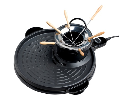 Electric barbecue pan and fondue pot great party isolates  photo