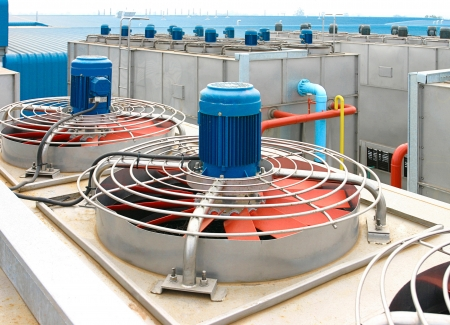 Fan ventilator cooling systems for ventilation in the factory  photo