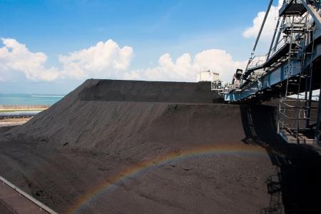 manufacturer: Digger machine digging mass of coal preparing power electric plant Stock Photo