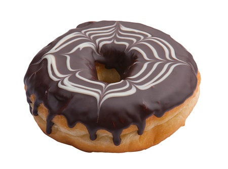 doughnut: Donut topping with chocolate cream isolated