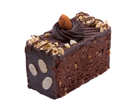 mousse: Sweet brownie cake topping with chocolate and almond Stock Photo