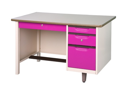 Cute and nice desing desk stainless steel furniture in violet color isolated  photo