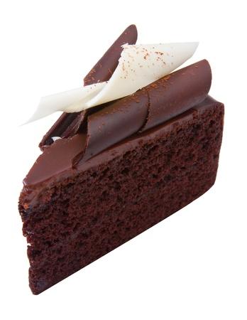 isolates: Black chocolate cake topping with white chocolate isolates