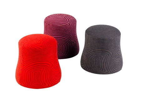 hassock: Red purple brown fabric stools in modern design isolated  Stock Photo