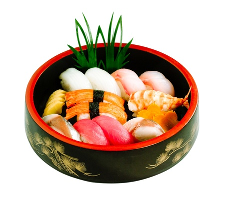 isolates: Sushi Japanese food in bento box set isolates Stock Photo
