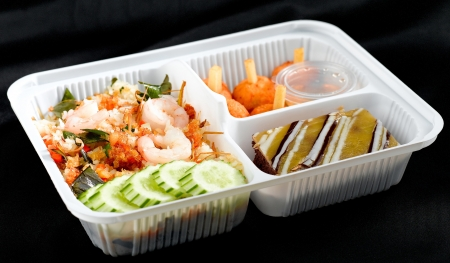 veggie tray: Shrimp fried rice Thai style lunchbox ready to eat in food box