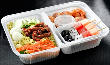 veggie tray: Thai food in a lunch box  Stock Photo