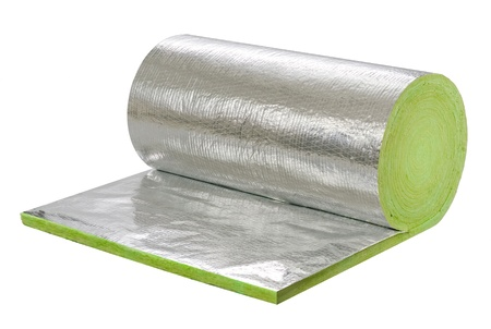 foil roll: The roll of insulator sheet to use beneath the roofing for heat or cold protection in any daytime or seasons Stock Photo