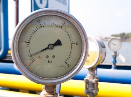 pressurized: Pressure meter scale for checking the pressure in gas pipelines Stock Photo