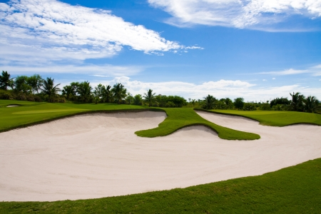 putter: Dear golfer, behind the rough or bunker are happiness and successful Stock Photo
