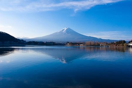 The most beautiful scenery of Volcano Mt Fuji in autumn photo