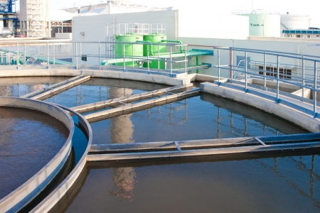filtration: Water tanks in the wast water treatment processing after drained from the power plant in cooling systems