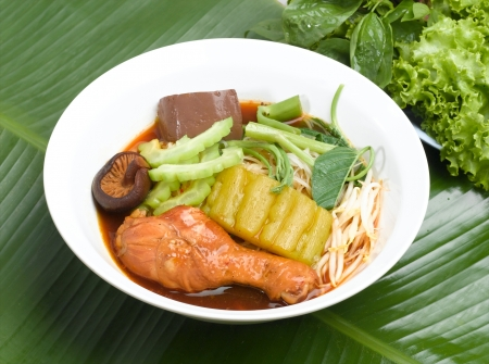 morning glory family: Thai noodle style with chickhen stick and vegetable  Stock Photo