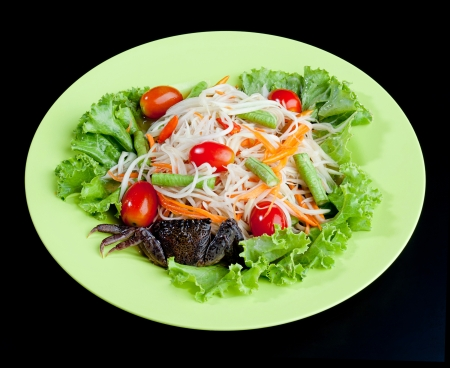 Somtam with crab the papaya salad spicy Thai food  photo