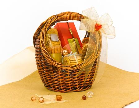 canasta de panes: Hermoso regalo galleta cesta cesta Foto de archivo