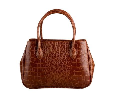 leather woman: Nice brown crocodile leather woman handbag