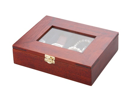 Wooden treasure box isolated   photo