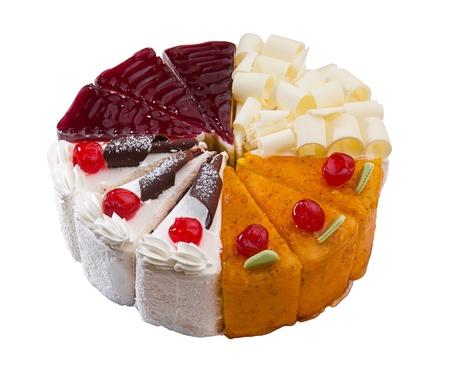 흰색 배경에 고립 된 조각 케이크의 다양한